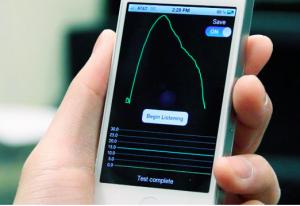 Logiciel Iphone - spiromètrie pulmonaire. Crédit S. Patel/U. Washington